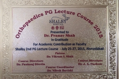 P.G Lecture Course for Orthopedic Trainees - 2014,2015,2016.